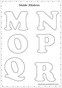 Modelo de letras para cartaz m n o p q r