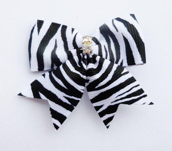 malé černé a bílé zebra tisk vlasy luk - 2 palce letní bling vlasové doplňky - vejde se dítě t - úžasný svět ručně vyrobených dárků