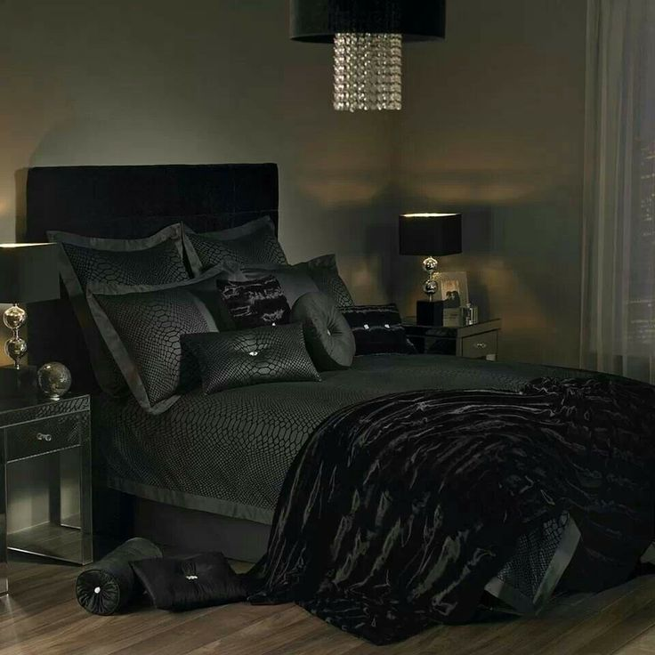 All Black Bedroom For The Home Pinterest