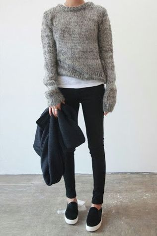 pair the gray sneakers w/ gray sweater