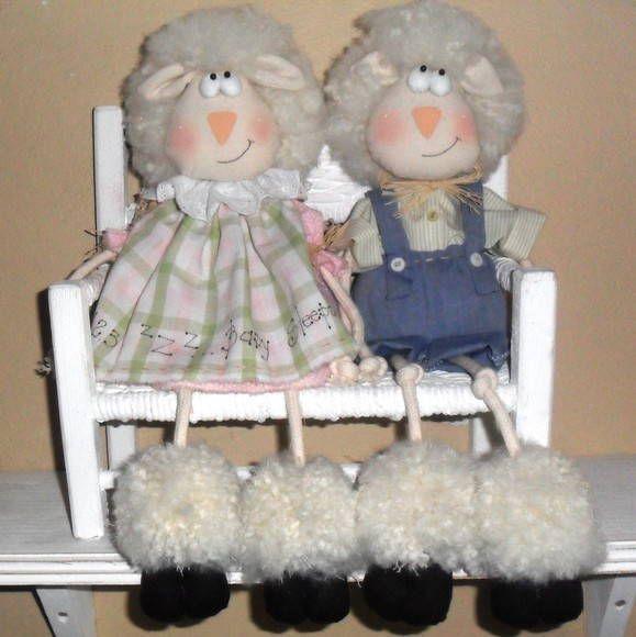 CARNEIROS  casal   Ideias e Panos Country Dolls    EA1B5 - Elo7