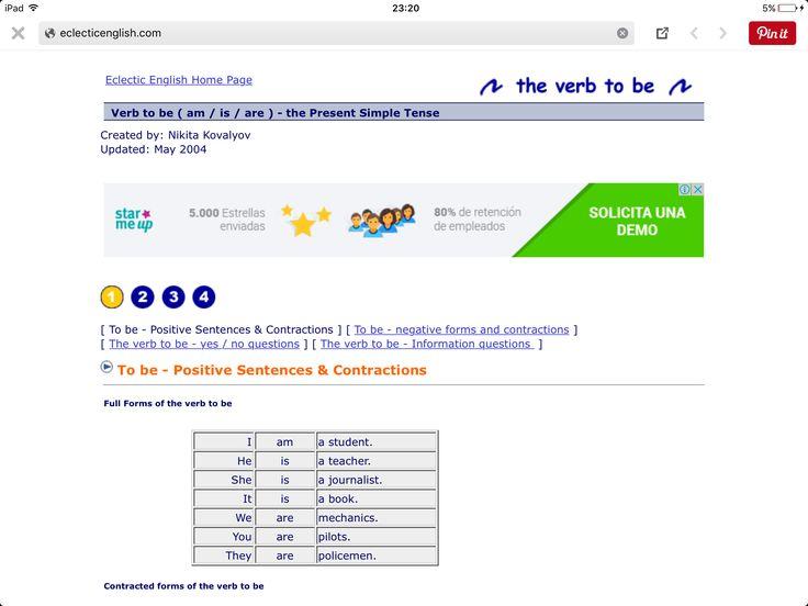 """Aquí algunos juegos para aprender a conjugar el verbo """"to be""""   Consulta esta liga: http://www.eclecticenglish.com/grammar/PresentSimpleToBe1A.html"""