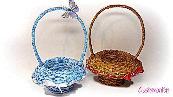 Cómo hacer cestas de periódico. How to make newspaper baskets.