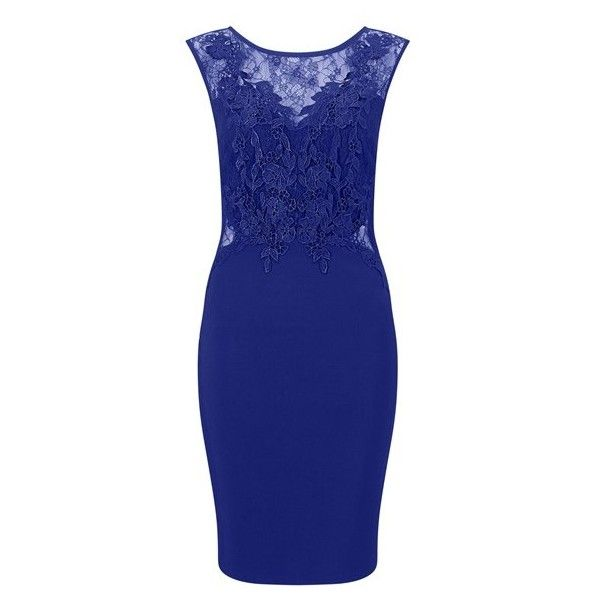 Lipsy Love Michelle Keegan Lace Applique Bodycon Dress (5,755 INR) ❤ liked on Polyvore featuring dresses, lipsy dresses, lace dress, lace body con dress, bodycon dress and blue dress