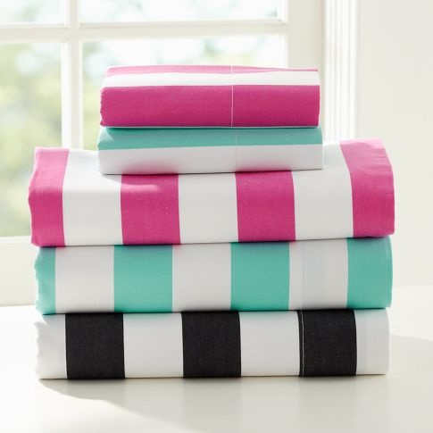 pottery barn cottage stripe sheet set loving the colors now if only that was