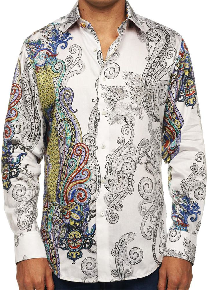 Robert Graham's Marky Mark Sport Shirt.  This shirt is crafted from 100% cotton with an engineered black and white paisley design. The abstract layout and sheer overlay creates a powerful look. An space-dyed embroidery on the back completes this style.  #robertgraham #print #paisley #embroidery #color #mondouomo #naples