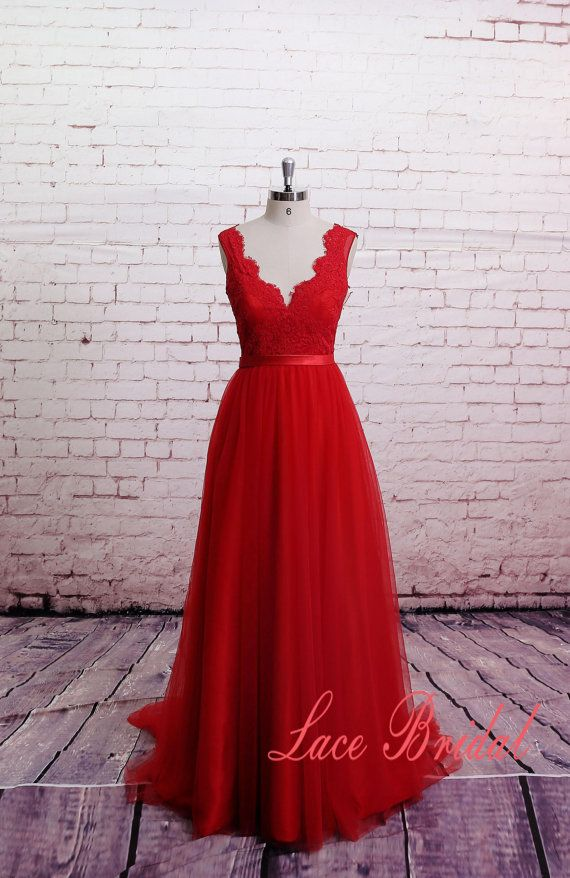 Classic Lace Evening Dress Brush Train Prom Dress A-line Red