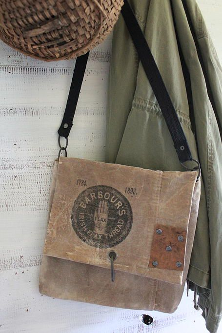 cinnamon creek dry goods......Barbours Flax Thread Bag....     Waxed canvas with great graphic. Faux leather and metal accents.  11 x 11 ( approximately )....                         44.00