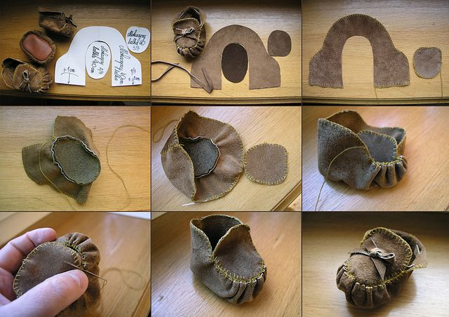 Moccasin-like doll shoes