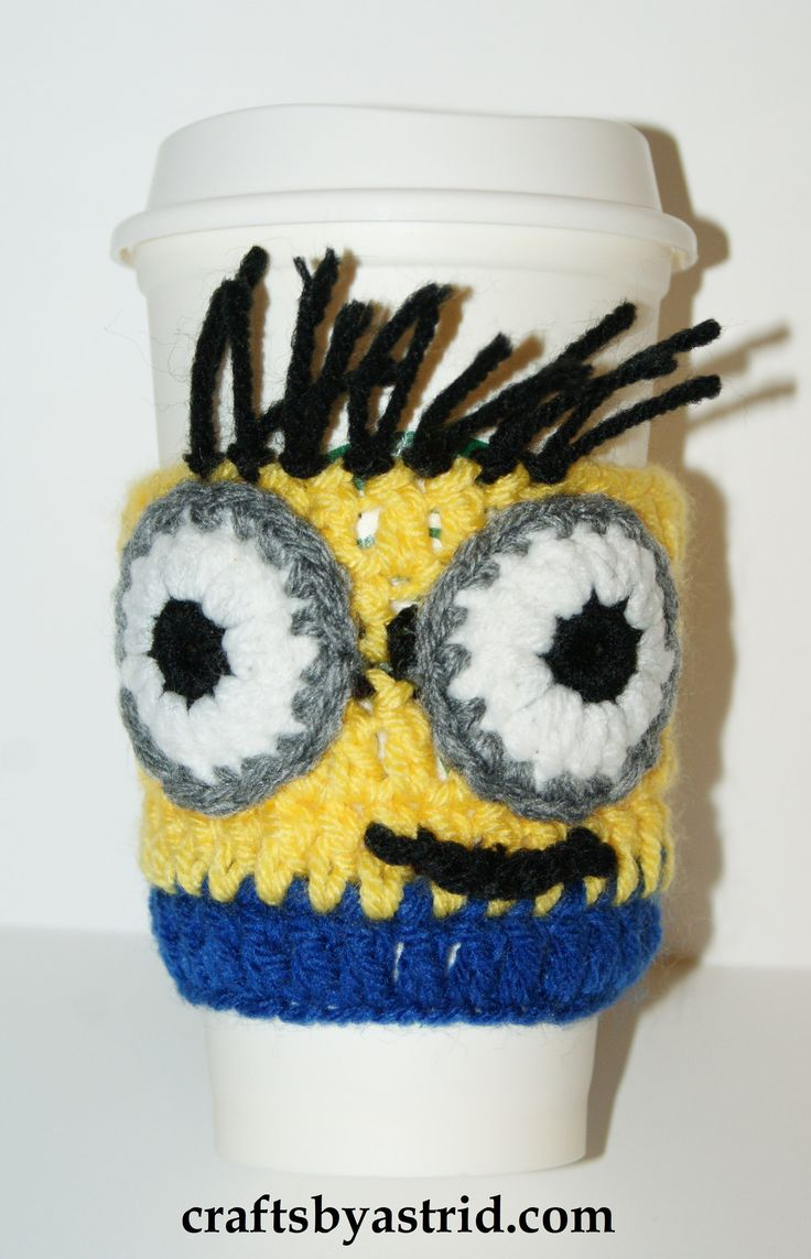 """9"""" x 4.5"""" Minion Crochet Cup Cozy. *Plastic cup not included."""
