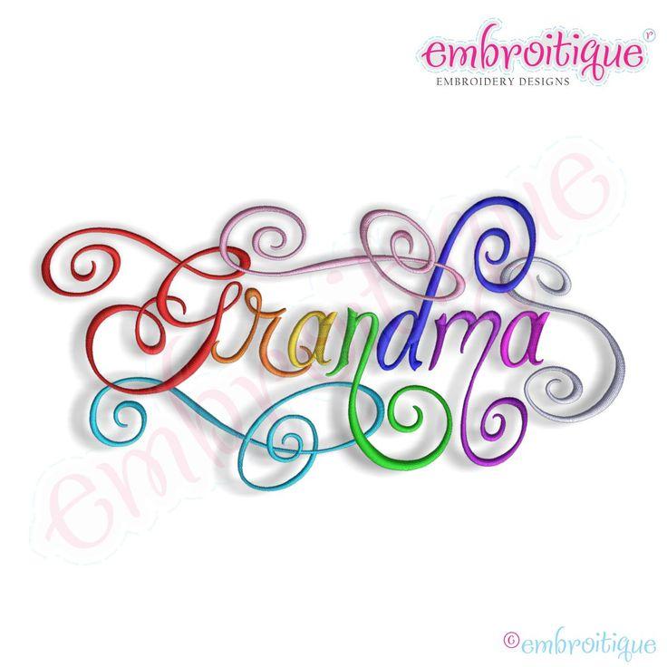 Embroidery designs all grandma calligraphy script