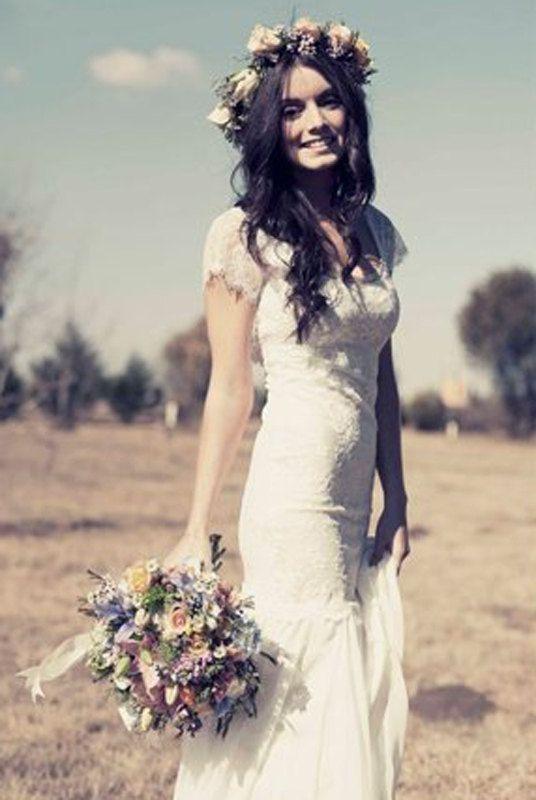 Ivory Lace Wedding Dress Cap Sleeve Wedding by RomantourBridal, $249.99