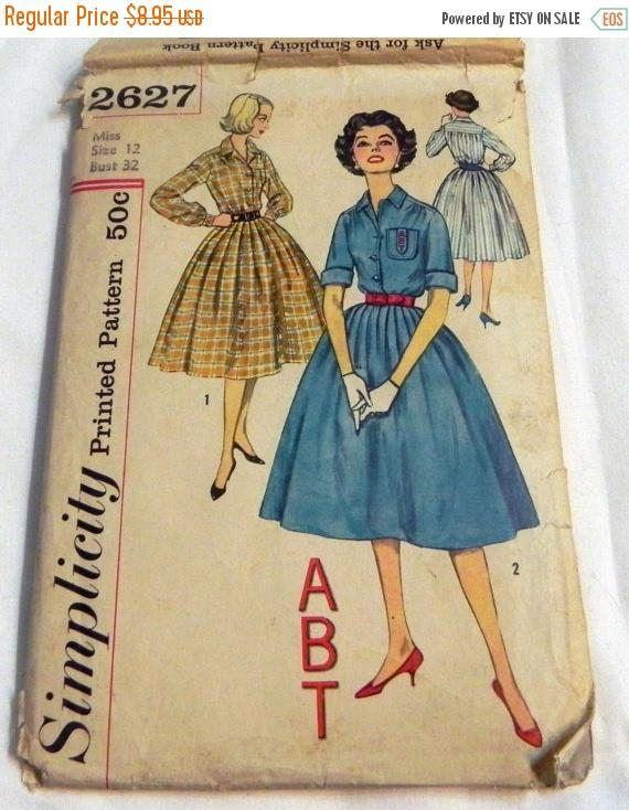 Sale 1950s Shirtwaist Rockabilly Day Dress sewing pattern