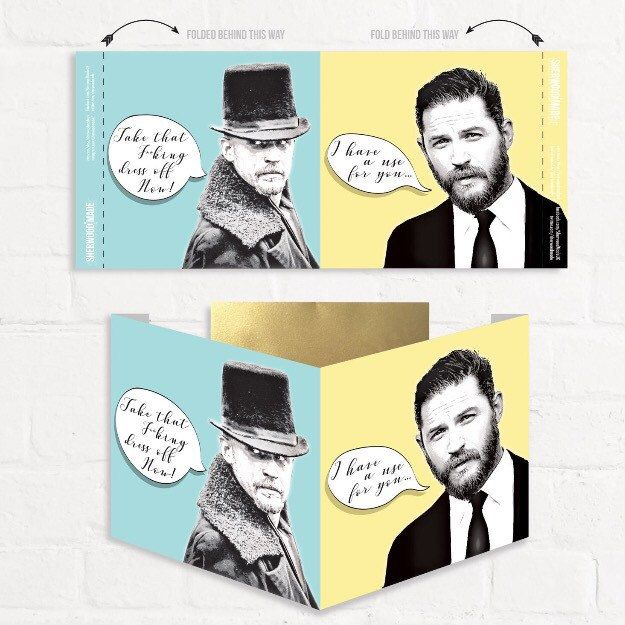 My new Tom Hardy fans Greetings card. Double front display with side tabs for stability. Great for birthdays and well just because it's Tom Hardy. SWOON!