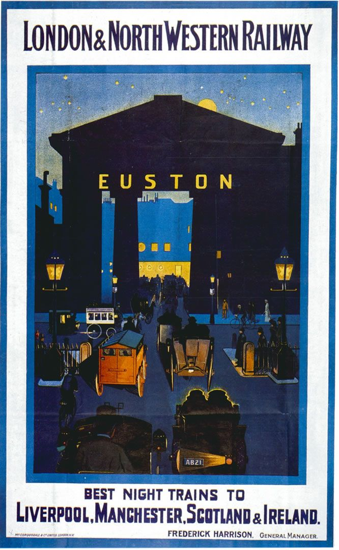 ENGLAND - London L&NWR Euston Station #Vintage #Travel nightscene