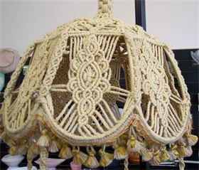1279 best macrame lampshades images on pinterest lamp shades hand made and sturdy on a wire base canopy is approx 12 tall greentooth Choice Image