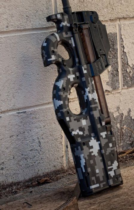 FN P90 Submachine gun. Digital camo airbrush. http://riflescopescenter.com/nikon-monarch-review/