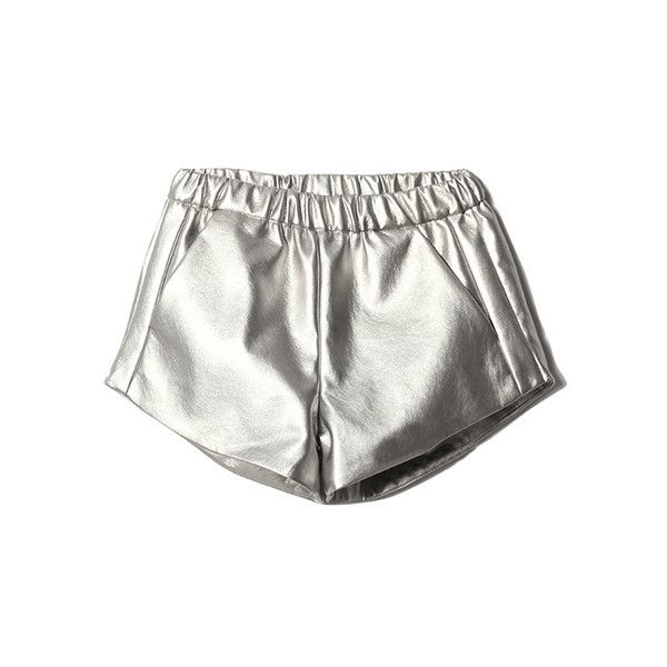 Metallic Silver Shorts (40 PAB) ❤ liked on Polyvore featuring shorts, bottoms, short, elastic waistband shorts, metallic shorts, silver metallic shorts, elastic waist shorts and short shorts