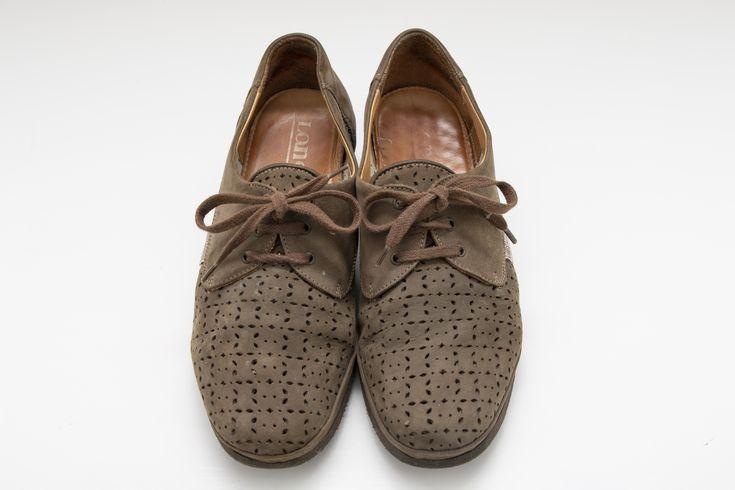 Scarpe Vintage Stile anni/'7080 con piccolo tacco e Lacci Marrone Verde N 37-80s Vintage Style Shoes with small heel and Laces Green Brown