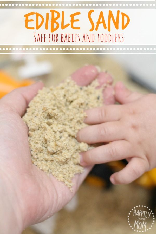 If you need activities for babies, check out this recipe for making edible, baby-safe sand with only one pantry ingredient!
