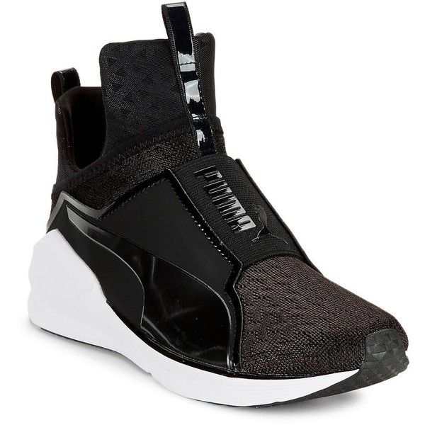 Puma Fierce Mesh Hi-Top Sneakers ($100) ❤ liked on Polyvore featuring shoes, sneakers, black, black sneakers, slip-on shoes, black slip on sneakers, slip on shoes and puma high tops
