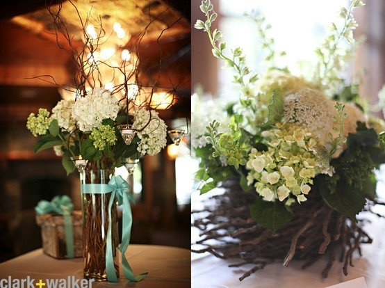 I really like the idea of hydrangeas with curly willow