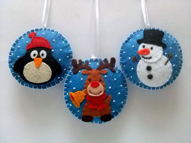 Christmas Tree Ornaments – christmas ornaments - set of 3 snowman,penguin – a unique product by dusi-ustvarja on DaWanda