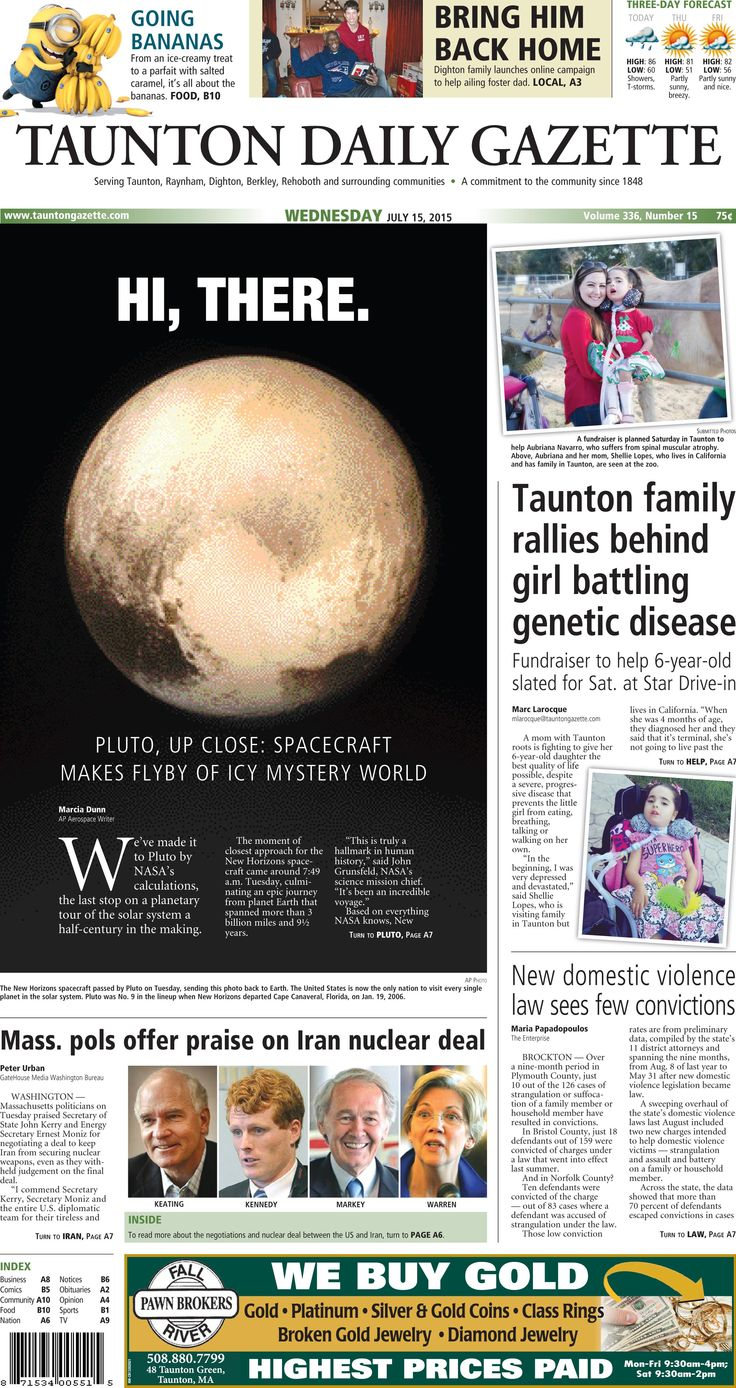 The front page of the Taunton Daily Gazette for Wednesday, July 15, 2015.