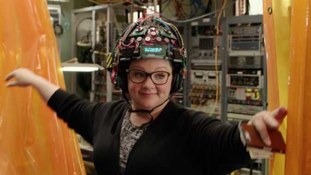 The first new Ghostbuster we see is Abby Yates, played by Feig's muse, Melissa McCarthy (this is the fourth film they've done in a row).