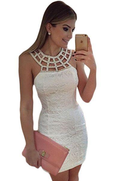 Caged Round Neck White Lace Mini Dress