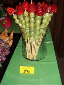 skewers: Fruit Kabobs, Caterpillar Fruit, Spa Parties, Grand Kids, Bouquets, Parties Ideas, Fruit Platters Ideas, Fruit Skewers, Baby Shower
