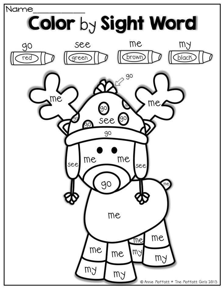 Worksheets Christmas Worksheets Kindergarten 1000 ideas about kindergarten colors on pinterest worksheets color by sight word for christmas