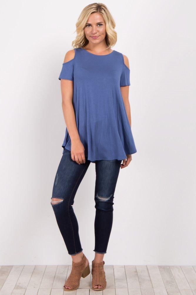b5eca9d224aa34 Blue Weave Back Cold Shoulder Top | rs | Tops, Blue weave, Maternity ...