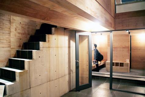 Tadao Ando. Row House in Sumiyoshi. Patio & stair.