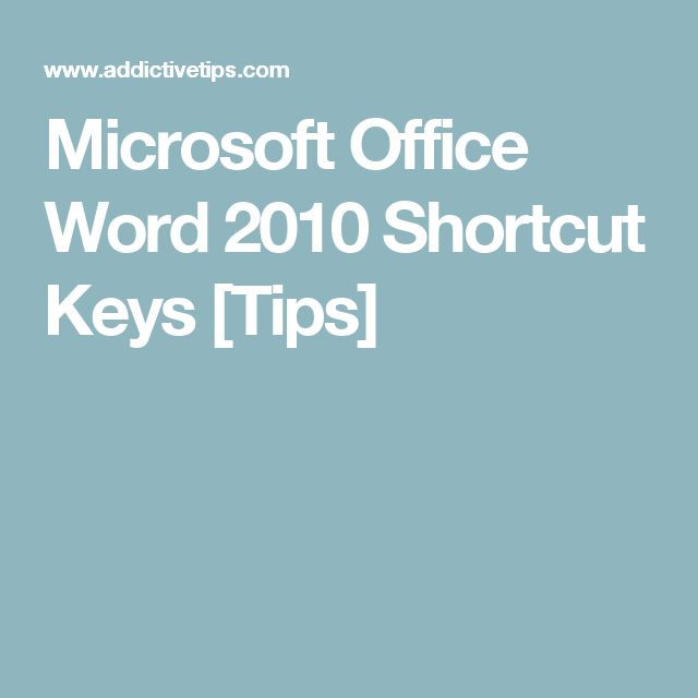 Microsoft Office Word 2010 Shortcut Keys [Tips]