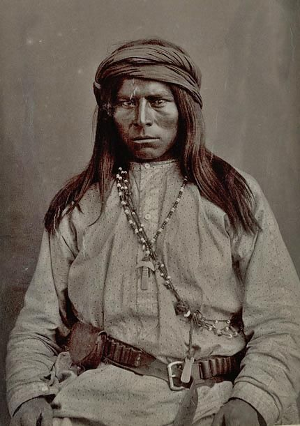Apache man - circa 1885.  ~~Come to Southeastern Arizona and stay at the Hummingbird Ranch Vacation House in Pearce AZ and learn more about the Apache history. http://vacationhomerentals.com/68121 See where Geronimo & Cochise once lived in The Sulphur Springs Valley.  520-265-3079