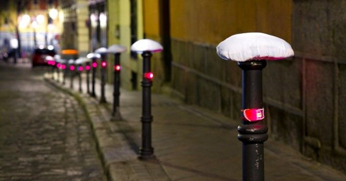 "Luz Interruptus dressed an army of street bollards in downtown Madrid with ""bicycle"" hats and lights in order to encourage people to take up cycling. Aiming their nighttime guerrilla art intervention at users of public transportation, who are facing fees that have sometimes doubled in recent months, the designers also hope to influence a healthier move away from environmental pollution with their installation called ""Bicycles Seeking Owners."""