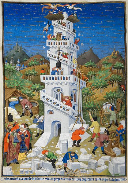 "Building of the Tower of Babel; detail of a miniature from BL Add MS 18850, f. 17v (the ""Bedford Hours""). Held and digitised by the British Library, c.1410-1430."