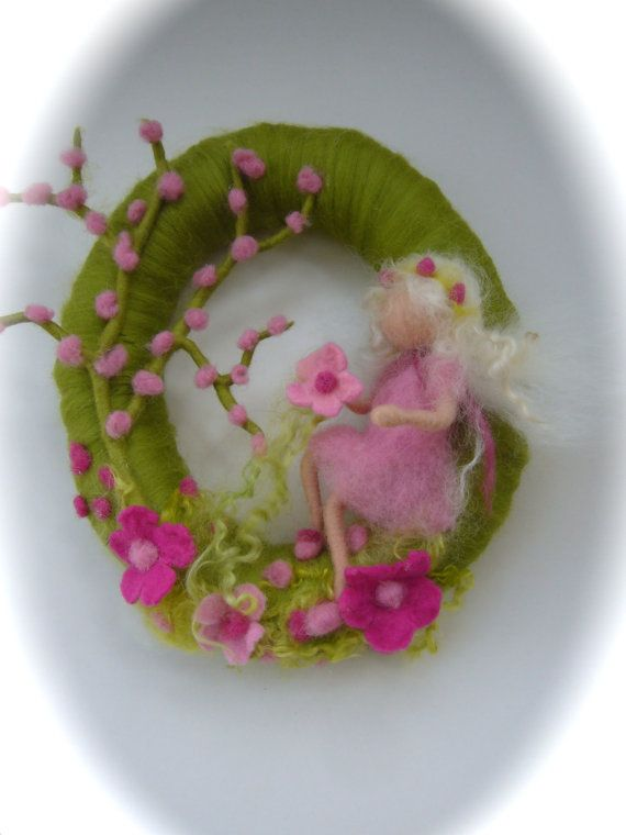 Spring Wreath.Spring Fairy . Needle Felted. by FilzArts on Etsy, $45.00