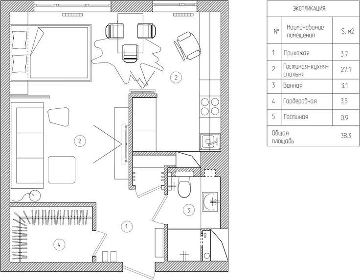 Дизайн интерьера однокомнатной квартиры 39 кв. м.