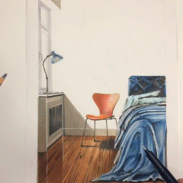 #sketch  фрагмента спальной комнаты. Стул  #Series7 -модификация другой модели Arne Jacobsen - стула 3107. Первый раз эта модель была продемонстрирована в 1️⃣9️⃣5️⃣5️⃣ году на выставке в Швеции. При изготовлении этого стула была применена инновационная технология использования фанеры. Стул Series 7 - это плавность линий, достигнутая засчет монолитного соединения спинки и сиденья.