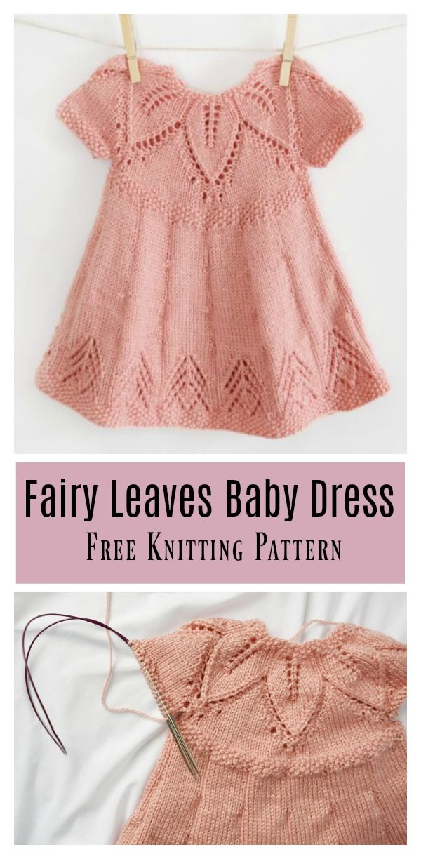 Fairy Leaves Baby Dress Free Knitting Pattern #freeknittingpattern #babydress  – Knitting