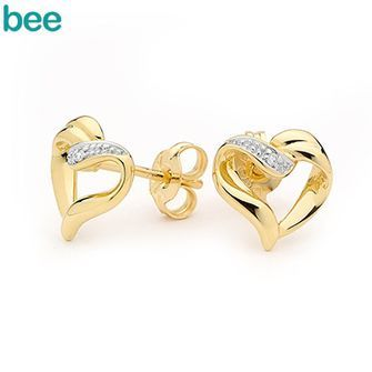 Buy E02 - Gold and Diamond Heart Earrings (BEE-54744) online at Chain Me Up
