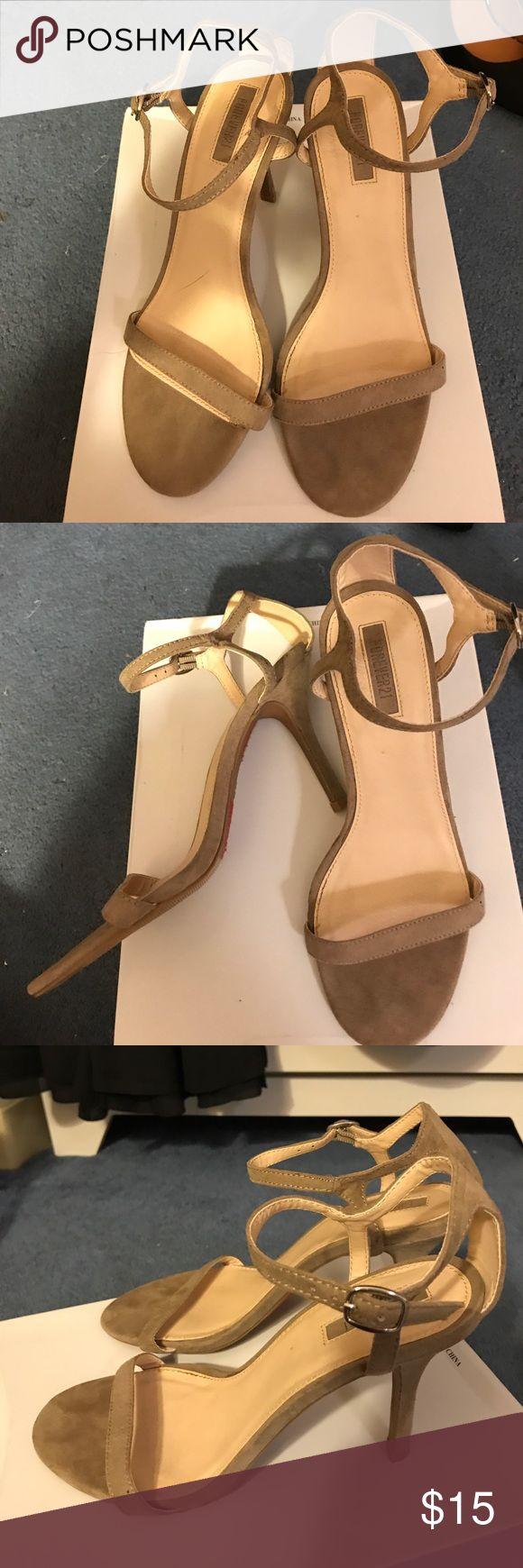 Tan/grey strappy heel Comfy heels Shoes Heels