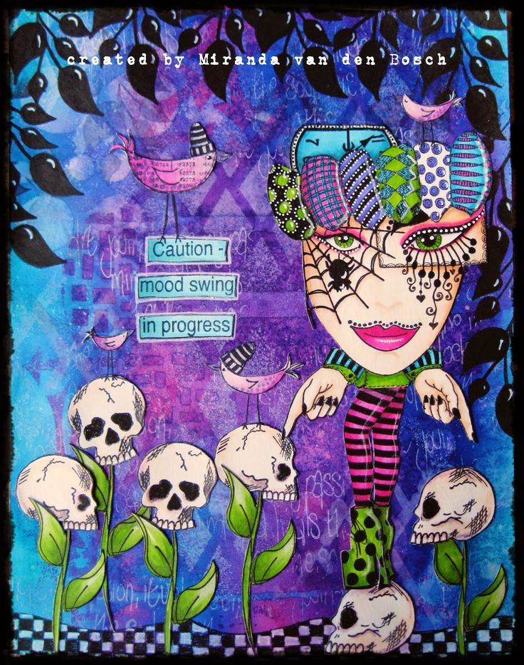 Art journalpage using Dylusions ink and stamps, page by Miranda van den Bosch