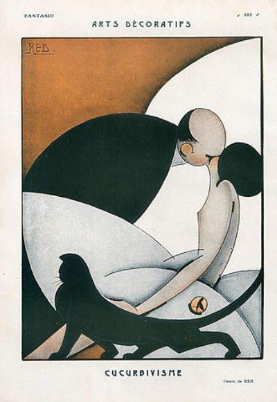Art Deco illustration (1925) by Reb. via art, photos, fashion  | followpics.co