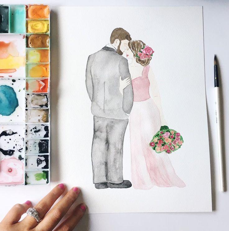 Paper Anniversary Watercolor Portrait By Simplyartbykristin