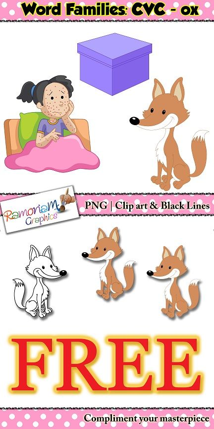 """FREE CVC short vowel clip art set containing images from the """"ox"""" family"""