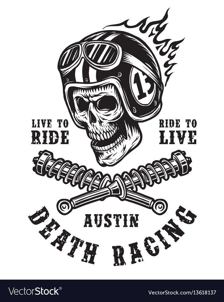 Racing emblem with skull in helmet Royalty Free Vector