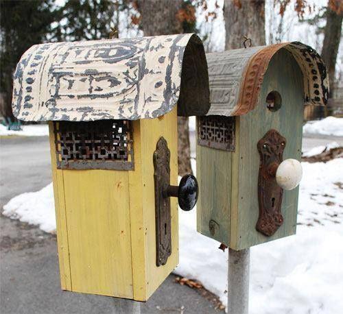 Repurposed birdhouses (ceiling tiles + heater vents + door knobs)
